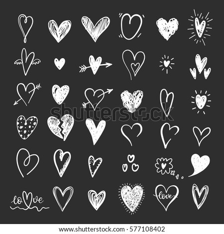 funny doodle hearts icons