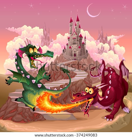 funny dragons in a fantasy