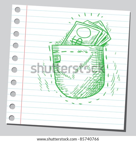 Funny drawing of a money in pocket