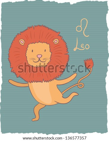 Funny drawing of a zodiac symbol - Leo. One of a set. Vector illustration.