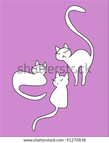 Funny drawing of animated vector cats on pink background