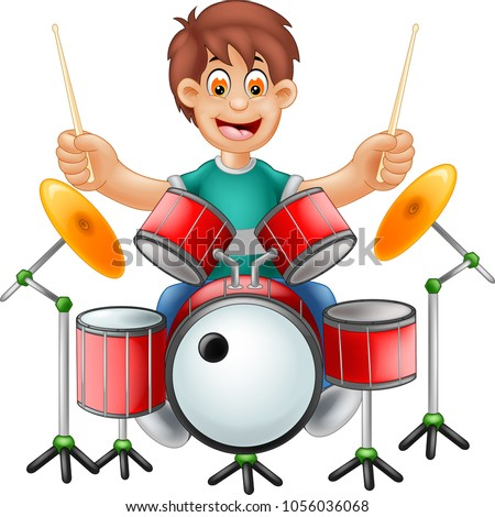 funny drummer cartoon playing
