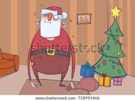 funny drunk santa claus with a