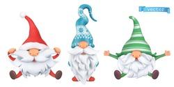 Funny dwarfs. Christmas 3d vector cartoon characters set