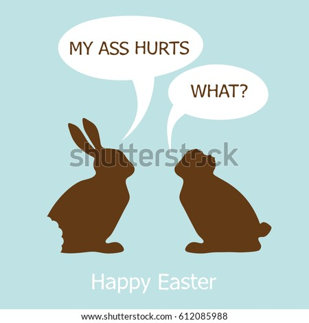 funny easter cardtwo chocolate