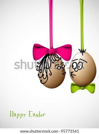 funny easter eggs with a bow