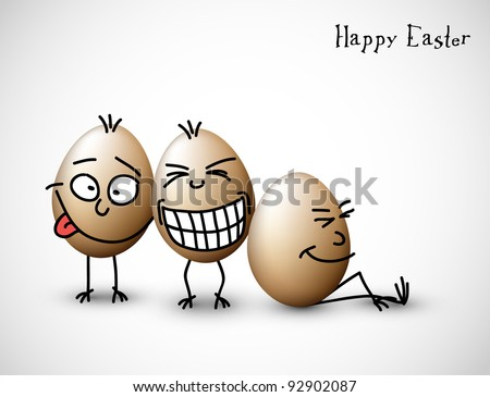 Funny eggs - stock vector