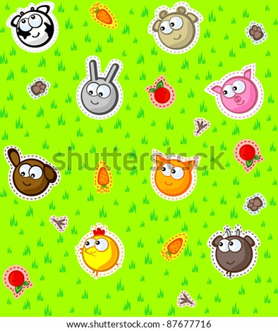 Funny faces farm animals on a background of green grass. Wallpaper for children. Vector seamless texture. - stock vector