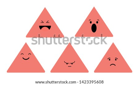 Funny faces with different emotions. Isolated on white background. vector illustration.