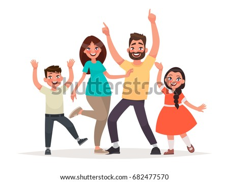 Funny family. Dad, mother, son and daughter are happy. Vector illustration in cartoon style