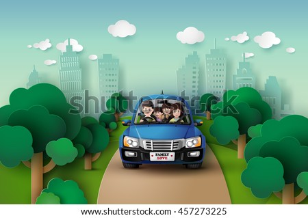 funny family driving in car on