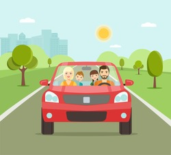 Funny family driving in red car on weekend holiday. Vector flat illustration