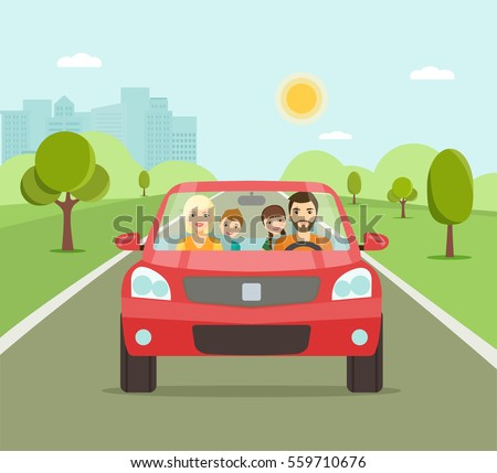 Funny family driving in red car on weekend holiday. Vector flat illustration #559710676