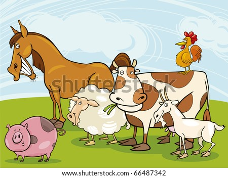 funny farm animals group cartoon illustration