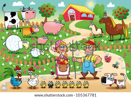 Funny farm family. Cartoon and vector illustration