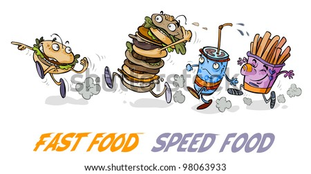 Funny Fast Food Hamburger Characters.