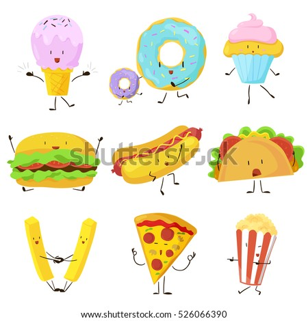 Funny fast food icons set. Vector illustration for restaurant menu design. Burger, hot dog, sandwich, french fries potato, pizza, popcorn, donut, ice cream, cupcake cartoon comic character