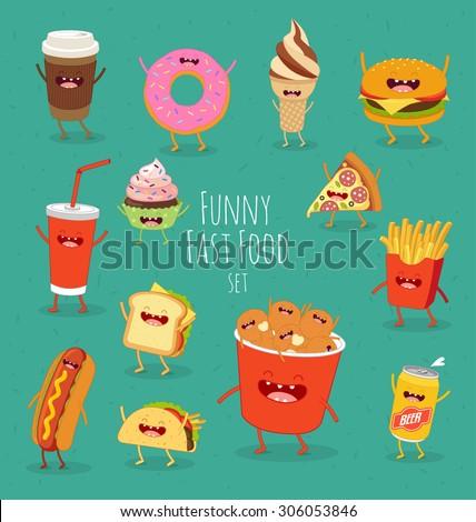 funny fast food set vector