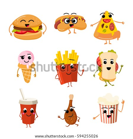 funny fast food vector