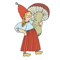 Funny female gnome holding giant mushroom. Fairy tale elf girl in red hat and wooden shoes with good personality. Vector illustration for children