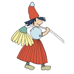 Funny female gnome with giant chamomile flower on her shoulder. Fairy tale elf girl in red hat and wooden shoes with good personality. Vector illustration for children
