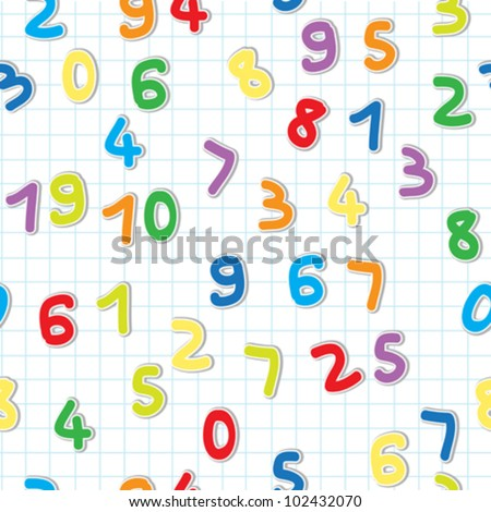 funny figures stickers pattern, numbers over a lined math paper