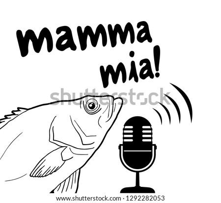 funny fish and mamma mia message
