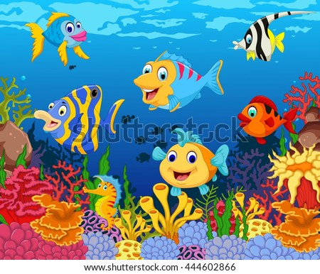 stock vector funny fish cartoon with beauty sea life background 444602866 - Каталог — Фотообои «Для детской»