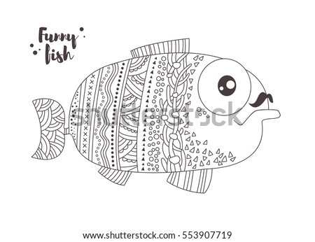 funny fish zentangle style