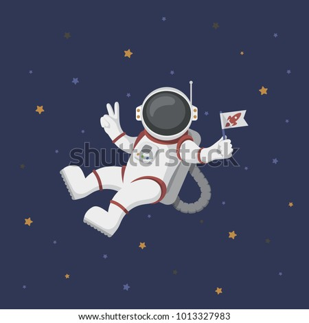 Funny flying astronaut in space with stars around