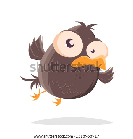 funny flying cartoon bird