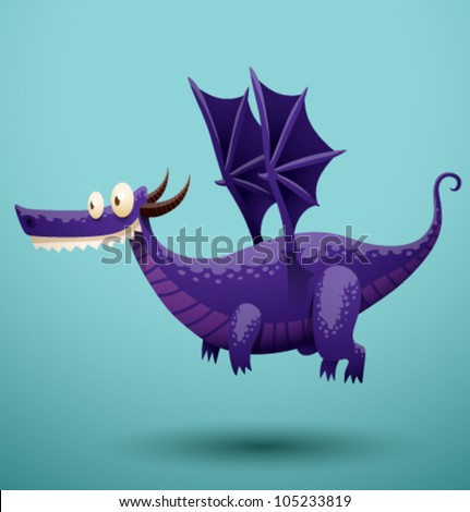 funny flying dragon 3  vector