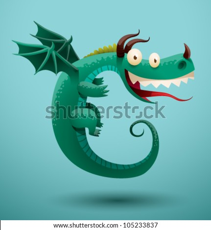 funny flying dragon 5  vector