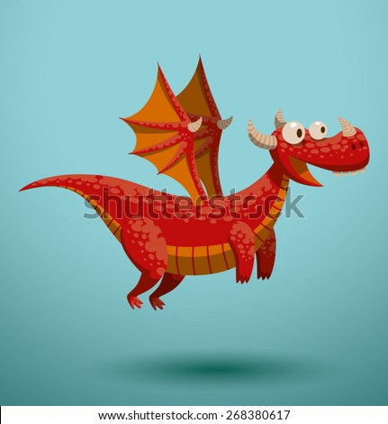 funny flying dragon  vector