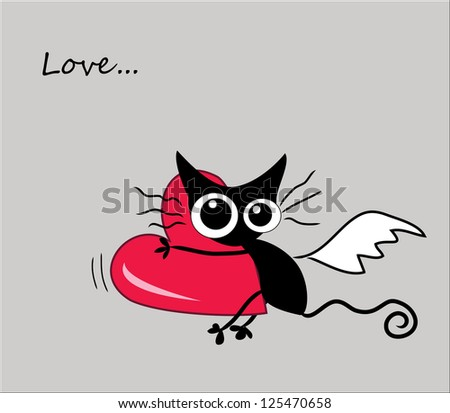 Funny flying kitten with heart