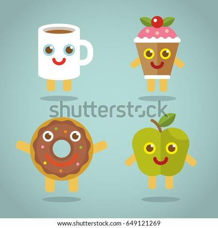 funny food flat vector apple