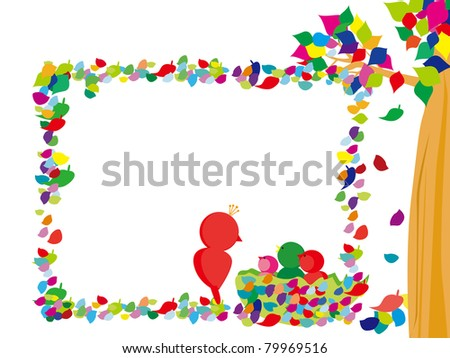 Funny Picture Frames on Funny Frame With Trees And Birds Stock Vector 79969516   Shutterstock
