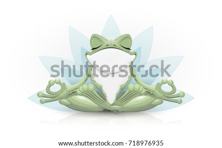 funny frog doing yoga vector