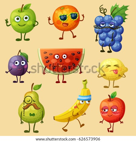 Funny fruit characters isolated on white background. Cheerful food emoji. Cartoon vector illustration: green pear, red apple, yellow banana, purple plum, orange, blue grape, watermelon, lemon, pear #626573906