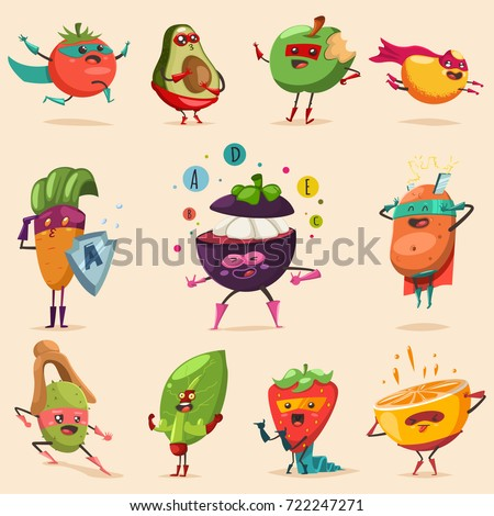 Funny fruits and vegetables in superhero costume. Cute food vector cartoon flat character set isolated on a white background. Concept illustration for a healthy eating and lifestyle.