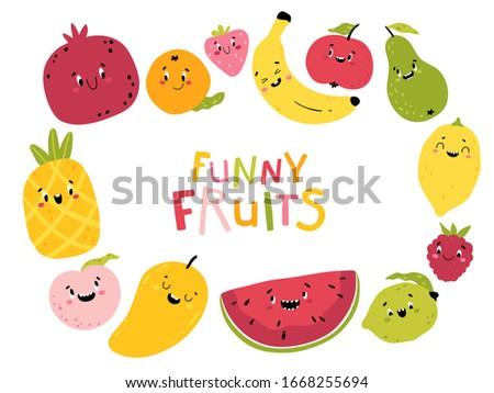 funny fruits cartoon vector