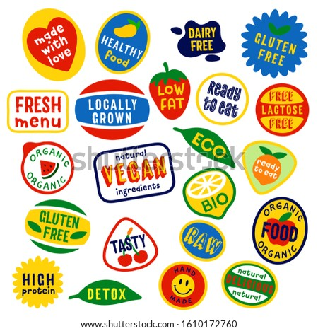 Funny fruity vector stickers design. Eco, vegetarian, healthy, homemade fruit tags.