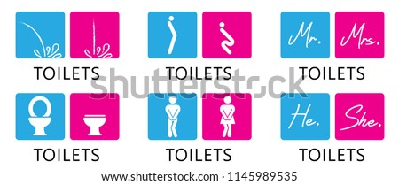 Funny fun toilet toilets WC icon restroom batroom footprints icons clipart signs signs vector eps icon imprint print urinal toilet paper rooster people gender man woman mr mrs he she boy girl footstep