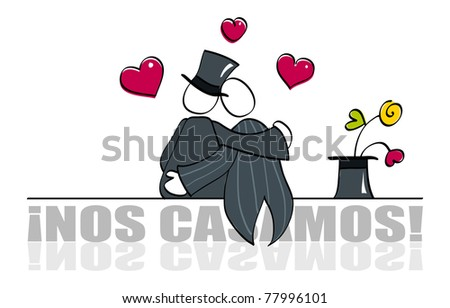 stock vector Funny gay wedding card
