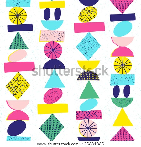Funny geometric seamless pattern. Modern design. Vector illustration.