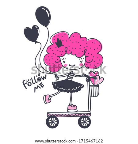 funny girl illustration baby