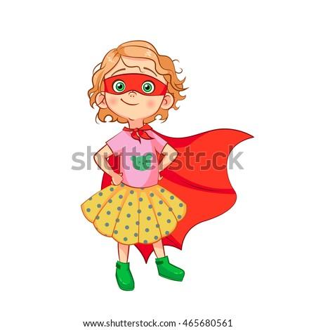 funny girl in superhero costume