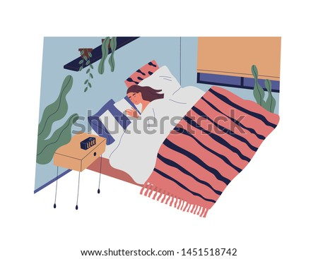 Funny girl or woman sleeping in bedroom at night. Female character lying in comfy bed and falling asleep. Repose and relaxation in everyday life. Colorful vector illustration in flat cartoon style.
