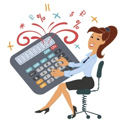 Funny girl playing calculator. Accountant, manager. Calculations, numbers, counting. Fireworks. Fountain of numbers and characters