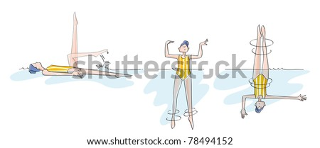 funny girl practicing synchronized swimming. Sequences of a woman doing pirouettes, practicing synchronized swimming